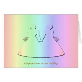 Invitación de boda en colores pastel del arco iris