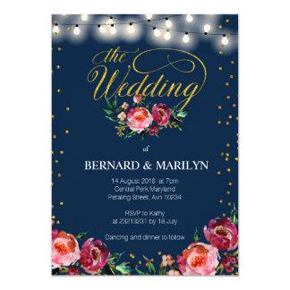 Invitación de boda floral del otoño de Borgoña