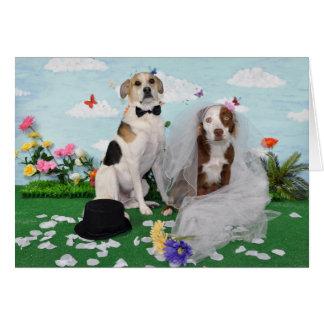 Invitación de boda, foto de 2 perros el día de tarjeta de felicitación