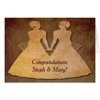Invitación de boda lesbiana de las novias rústicas tarjeta de felicitación
