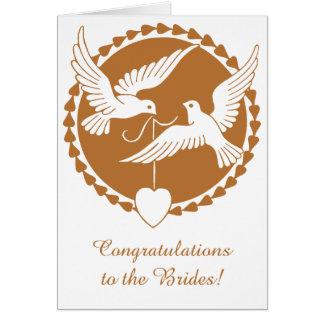 Invitación de boda lesbiana de las palomas de