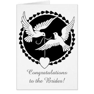 Invitación de boda lesbiana de las palomas del tarjeta de felicitación