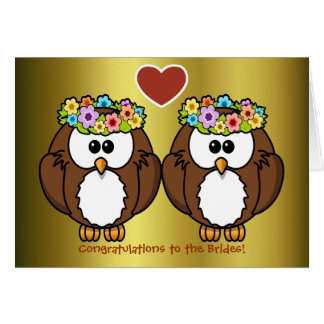 Invitación de boda lesbiana de los búhos de la felicitacion