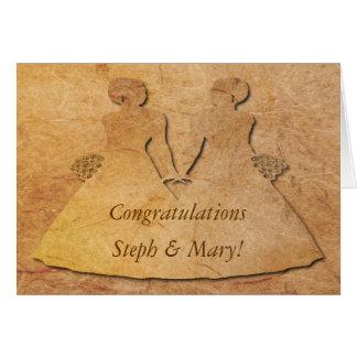 Invitación de boda lesbiana de papel de la novia tarjeta de felicitación