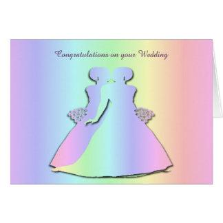Invitación de boda lesbiana del orgullo en colores tarjeta de felicitación