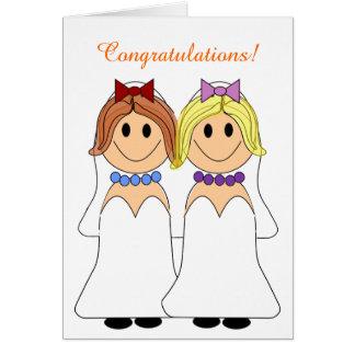 Invitación de boda lesbiana del Redhead y de las Tarjeta De Felicitación