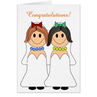 Invitación de boda lesbiana del Redhead y del Felicitación