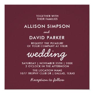 Invitación de boda moderna simple marrón de