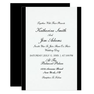 Invitación de boda negra elegante simple