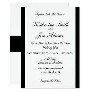 Invitación de boda negra elegante simple del
