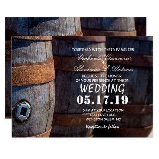 Invitación de boda rústica del barril de vino del