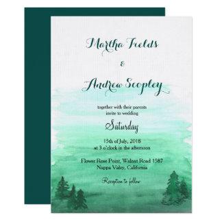 Invitación de boda rústica del bosque del emarald