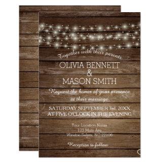 Invitación de boda rústica elegante de las luces