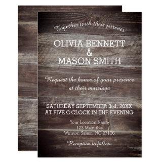 Invitación de boda texturizada madera rústica