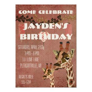 Invitación de bronce del cumpleaños de las jirafas invitación 13,9 x 19,0 cm