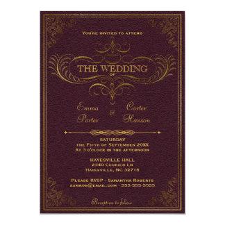 Invitación de cuero del boda del libro del vintage