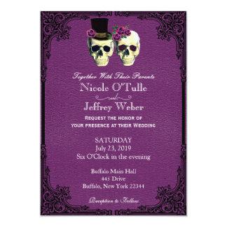 Invitación de cuero púrpura del boda del cráneo