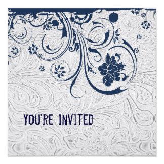 Invitación de cuero y azul equipada blanco del