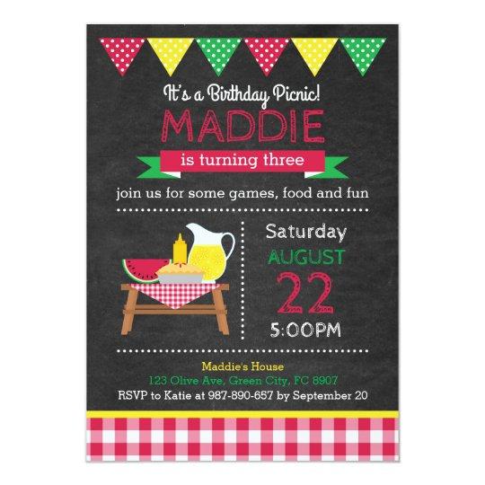 Invitación De Cumpleaños De Picnic