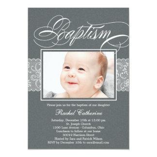 Invitación de encaje del bautismo de la foto de la