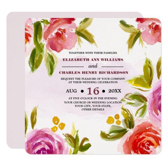 Invitación de encargo del boda del diseño floral