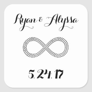 Invitación de encargo del boda del símbolo del pegatina cuadrada