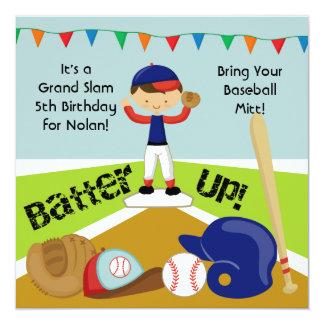 Invitación de encargo del cumpleaños del béisbol invitación 13,3 cm x 13,3cm