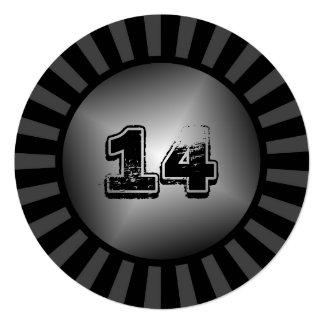 Invitación de encargo negra redonda del fiesta del invitación 13,3 cm x 13,3cm