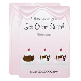 Invitación de encargo social del fiesta del helado
