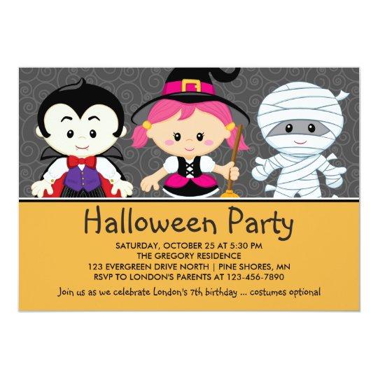 Invitaci n de fiesta de halloween para ni os - Fiesta halloween infantil ...