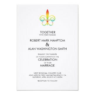 Invitación de Fleur del arco iris del matrimonio