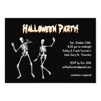 Invitación de Halloween de los esqueletos del Invitación 12,7 X 17,8 Cm
