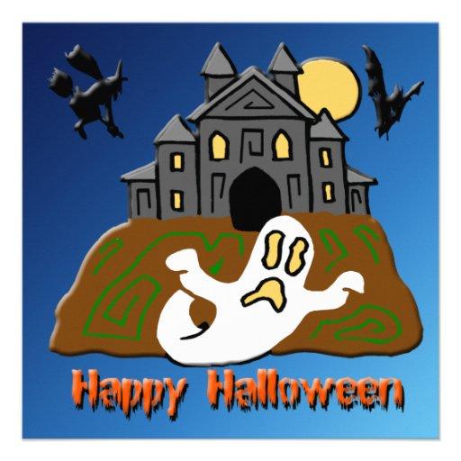 Invitación de Halloween del fantasma de la casa en