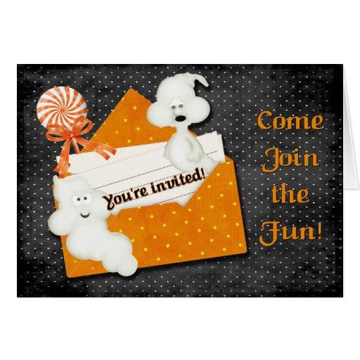 Invitación de Halloween del fantasma Tarjetón