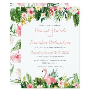 Invitación de hoja de palma tropical del boda de