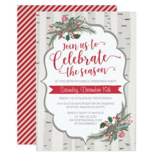 Invitación de Holliday del navidad del acebo del