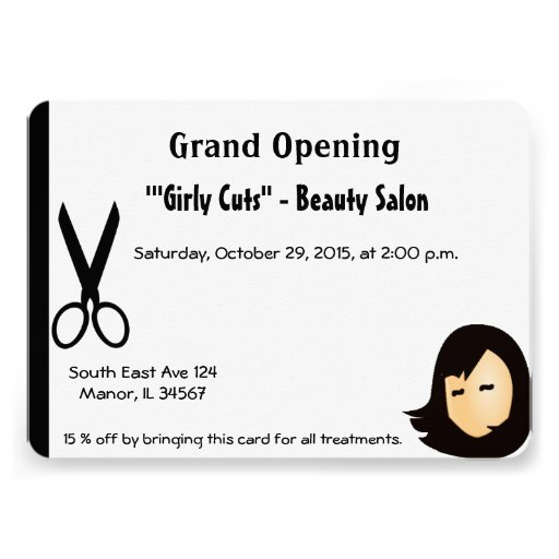 Invitación de la abertura del salón de pelo