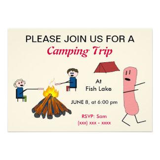 Invitación de la acampada del perrito caliente