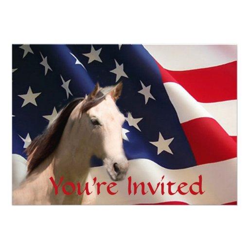 Invitación de la bandera americana del caballo