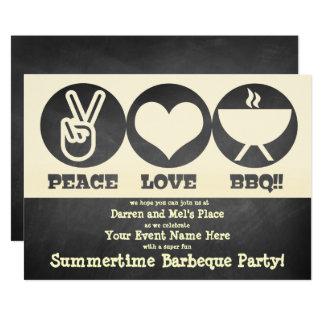 Invitación de la barbacoa del amor de la paz
