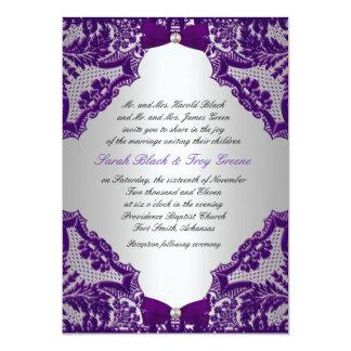 Invitación de la bodas de plata púrpura y