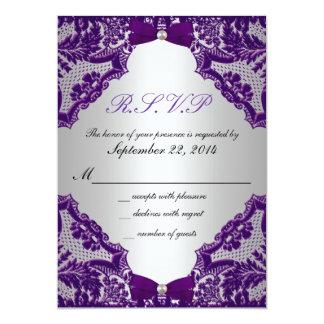 Invitación de la bodas de plata púrpura y de RSVP