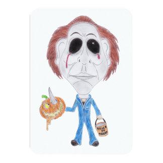 Invitación de la caricatura del asesino en serie