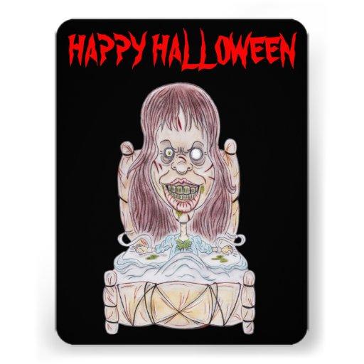 Invitación de la caricatura del feliz Halloween de
