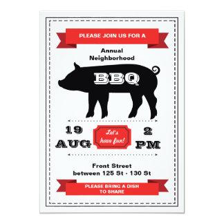 Invitación de la carne asada del cerdo