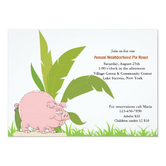Invitación de la carne asada del cerdo invitación 12,7 x 17,8 cm