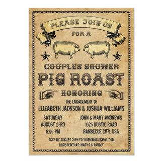 Invitación de la carne asada del cerdo del vintage