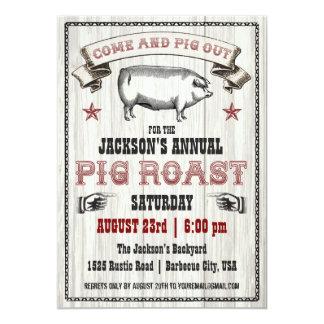 Invitación de la carne asada del cerdo del vintage invitación 12,7 x 17,8 cm