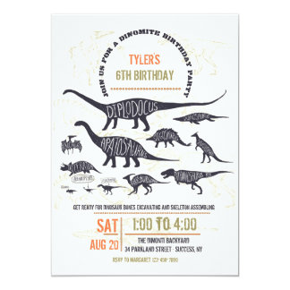 Invitación de la carta del dinosaurio
