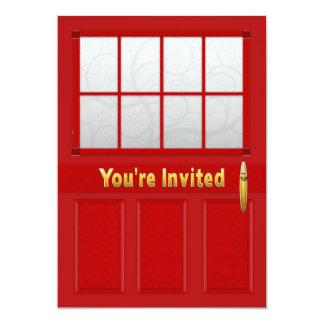 Invitación de la casa abierta - puertas rojas -